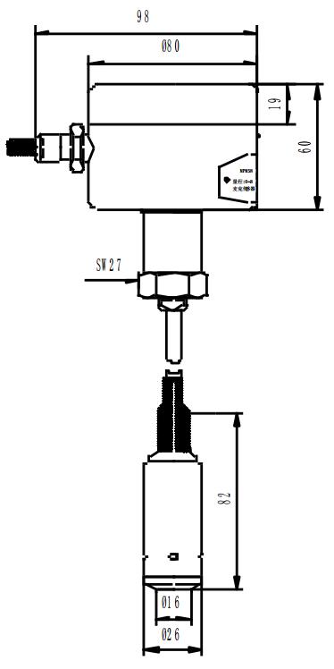 MPM580W 型压力开关外形结构图